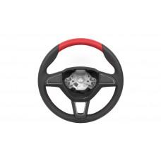 OEM Skoda Leather steering wheel Red design 3 spoke red stitch