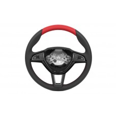 OEM Skoda Leather steering wheel Red design 3 spoke red stitch multifunctional