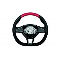 OEM Skoda Three-spoke sports steering wheel Red Perforated leather