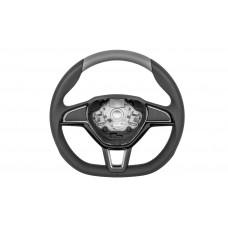 OEM Skoda Three-spoke sports steering wheel Grey Perforated leather