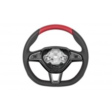 OEM Skoda Three-spoke sports steering wheel Red Perforated DSG multifunctional